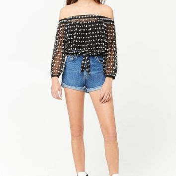 Sheer Floral Off-the-Shoulder Self-Tie Crop Top