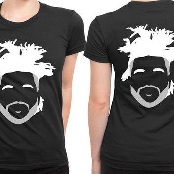 DCCK7H3 The Weeknd Stencil Hairstyle 2 Sided Womens T Shirt