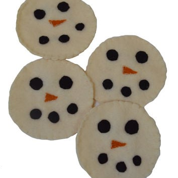 Snowman Coasters, Felt Coaster, Mug Rug, Winter Decor, Drink Accessory, Table Protector, Cloth Mat, Hostess Gift, Birthday Gift, Christmas