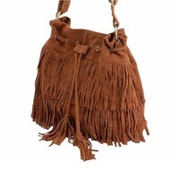 Dawdyfu Womens Fringe Tassel Shoulder Bag Handbags Messenger Bag (brown)
