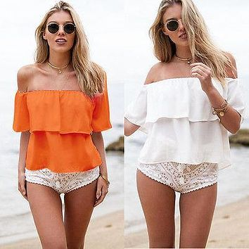 Women Sexy Summer Off Shoulder Chiffon Short Sleeve Costume Party Slim Shirt Top Blouse Two Color Size SMLXL