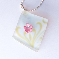 Pink Polymer Clay Flower Papered Recycled Glass Necklace, Seaglass, Swarovski Crystal