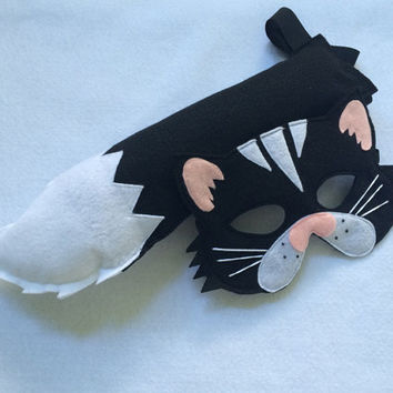 Children's Animal Black CAT Felt Mask and Tail Set