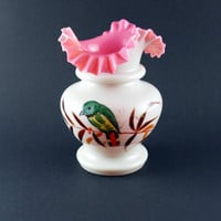 Vintage Victorian Bristol Fire Glow Style Milk Glass Hand Blown & Painted Crimped Top Vase