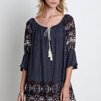 Printed Mini Bell A-Line Dress - Navy Mix
