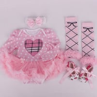 4pcs clothes tutu dress shoes head band leggings