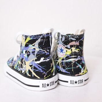 toddler black high top splatter painted converse sneakers toddler size 4 purple camou