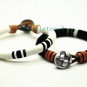 simple style cotton rope bracelet cuff, men's bangle cuff, women's leather bracelet, gift  RC2