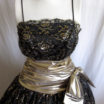 Vintage 1980s Avant Gard LBD party dress. Black Lace.Gold Lame' Cummerbund. Bow.Tulle. Holiday.Cocktail. Steam punk Wedding Dress