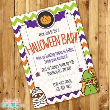 PRINTED Cute Halloween Party Invitation