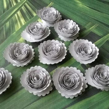 metallic silver carnations paper flowers Roses Loose table decoration wedding Bridal Shower Decor home decor Baby nursery party decoration