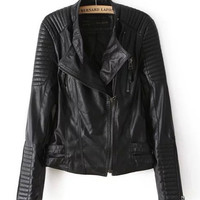 Black Diagonal Zip Striped Threaded Soft Faux Leather Jacket