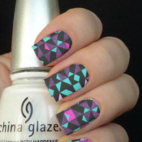 Full Geometric Pink Blue Purple Nail Art Decals Nail Stickers