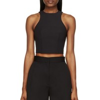 T By Alexander Wang Black Stretch Tech Cropped Top