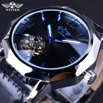 Winner Blue Ocean Geometry Design Transparent Skeleton Dial Men Watch Top Brand Luxury Automatic Fashion Mechanical Watch Clock