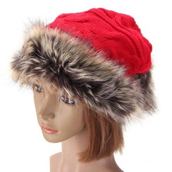 Thick Rabbit Fur Fleece Lined Crochet Braided Cap Knit Neck Scarfs Multifuctional Hats