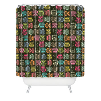 Sharon Turner Sherbet Owls Shower Curtain