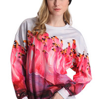 ROMWE Flamingo Print Long-sleeved Sweatshirt