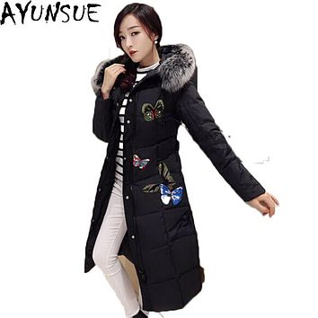 AYUNSUE 2016 New Down Coat Fox Fur Thick Parkas for Women Winter Jacket Butterfly Embroidery Maxi Long Coats Duck Down LX161