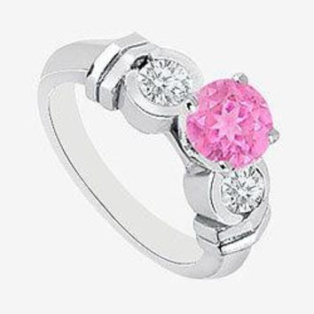 Pink Sapphire center Engagement Ring with side Diamond in 14K White Gold 0.90 Carat TGW