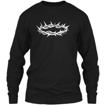 Christian Shirt - Jesus Crown of Thorn Good Friday & Easter LS Ultra Cotton Tshirt