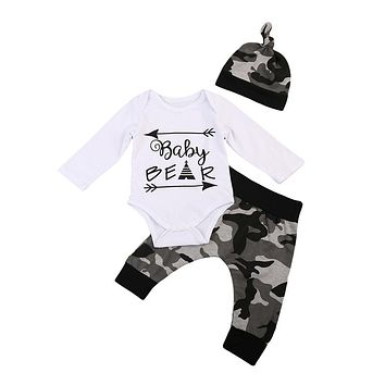 Infant Baby Boys Baby Bear Romper Camouflage Pants Hat Baby Boys Clothes  New Arrival Fashion Outfits Clothing For Newborns