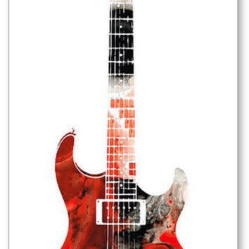 Electric Guitar Bold Art Print from Painting Colorful Music Musical Instrument CANVAS Ready To Hang Large Artwork Musician Gift Guitarist