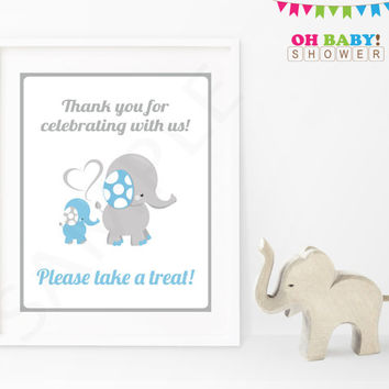 Thank you for Celebrating With Us Elephant Baby Shower Sign Blue and Gray Printable Boy Download Baby Decor Baby Shower Table Sign ELLBG