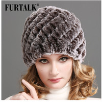 Winter knitted rex rabbit fur cap women's hat natural rabbit fur hats