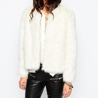 Mango Winter White Faux Fur 70'S Glam Coat