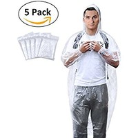 Emergency Rain Ponchos with Drawstring Hood, Disposable Extra Thick Rain Gear for Outdoors, Theme parks, Hiking, Camping, School Sporting Corporate Events Group Activity - Bulk Pack of 5, Clear