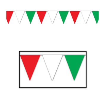 Outdoor Pennant Banner 17 x 30' - Red, White, Green- Pack of 12