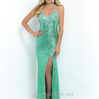 Blush Halter Top Prom Gown 9914