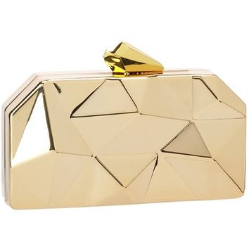 Estrella - Gold Structured Box Clutch