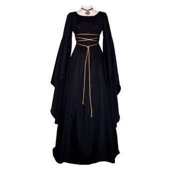 Gothic Dress Women 2018 Ladies Party Dress Flare Sleeve Retro Vintage Renaissance Medieval Black Long Maxi Punk Dress
