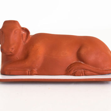 Vintage Cow Shaped Romertopf Butter Dish, Red Clay Butter Holder, Farmhouse Decor, Made in USA