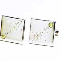 Swank Square Etched Cuff Links in Silvertone with Clear Crystal Rhinestone - Designer Signed  - Vintage Mens Jewelry