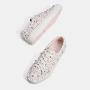 Fabric sneakers with faux pearls - SHOES - Bershka United Kingdom
