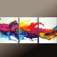 3pc Abstract Canvas Art Painting 54x24 Original Contemporary Paintings by Destiny Womack - dWo -  Beginnings