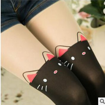 Hot Recommended Cartoon Designs Girls Tights Lovely Hello Kitty Velvet Stockings Patchwork Dancing Kids Tights