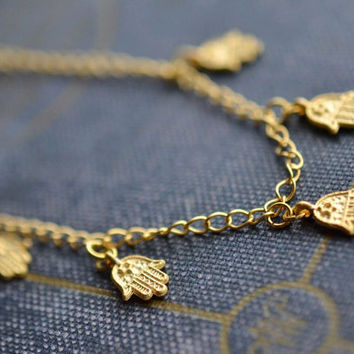 Gold Hamsa Necklace, Gold Hand Necklace