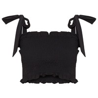 Petite Black Shirred Tie Strap Crop Top