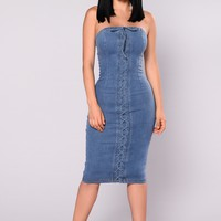 The Magic Denim Tube Dress - Denim
