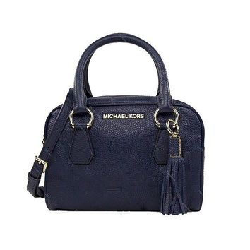 DCCKUG3 Michael Kors Bedford Small Tassel Navy Leather Purse