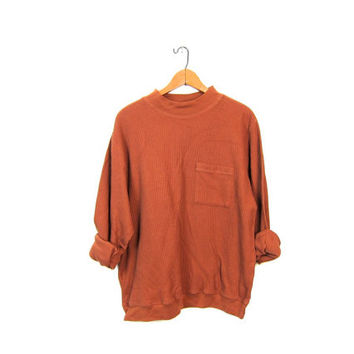 Plain Rust Brown Ribbed Shirt Oversize Slouchy Long Sleeve Top Mock Neck Textured Knit Boxy Basic Jumper Boho Hipster Vintage Large