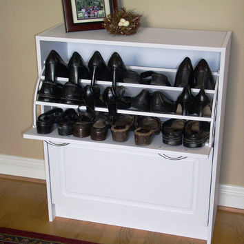 White Deluxe Double Shoe Cabinet By 4D Concepts