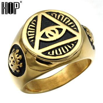 HIP Punk Gothic Gold Color Titanium Stainless Steel Biker Illuminati Pyramid Eye Symbol Rings for Men Jewelry