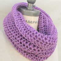 Knit Scarf  Knitted  Infinity Scarf Pink Scarf Purple Scarf Christmas Stocking Stuffer - By PiYOYO