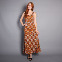 70s DEER Print DRESS / Brown Novelty Print MAXI Sun Dress, xs