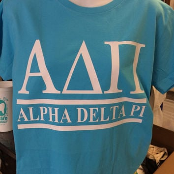 Custom Alpha Delta Pi Collegiate Style Comfort Colors Tanks, Short Sleeves, Long Sleeves, and Sweatshirts